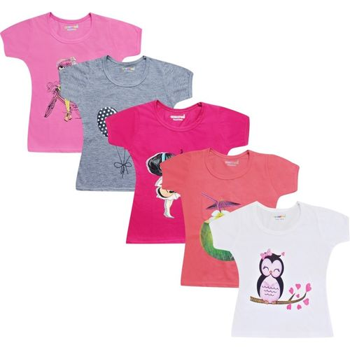 Kuchipoo Girls Pure Cotton Top(Multicolor, Pack of 5)