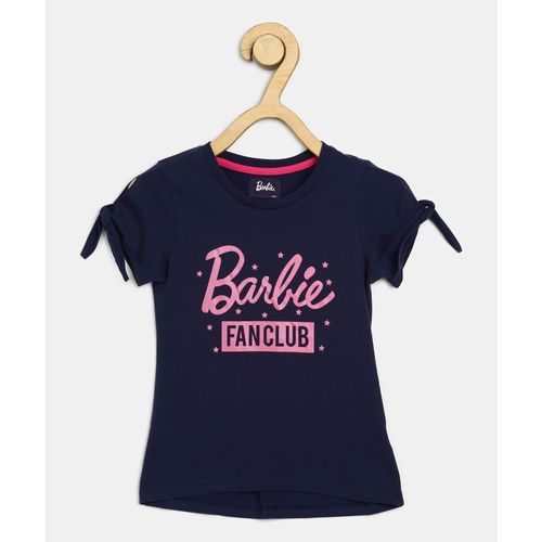 Barbie Girls Casual Cotton Blend Top(Dark Blue, Pack of 1)