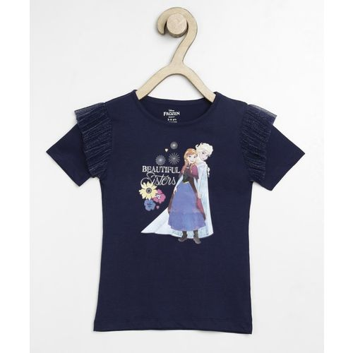 Miss & Chief Girls Casual Pure Cotton Top(Dark Blue, Pack of 1)