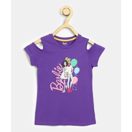 Barbie Girls Casual Cotton Blend Top(Purple, Pack of 1)