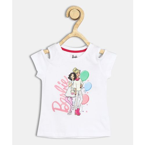Barbie Girls Casual Cotton Blend Top(White, Pack of 1)