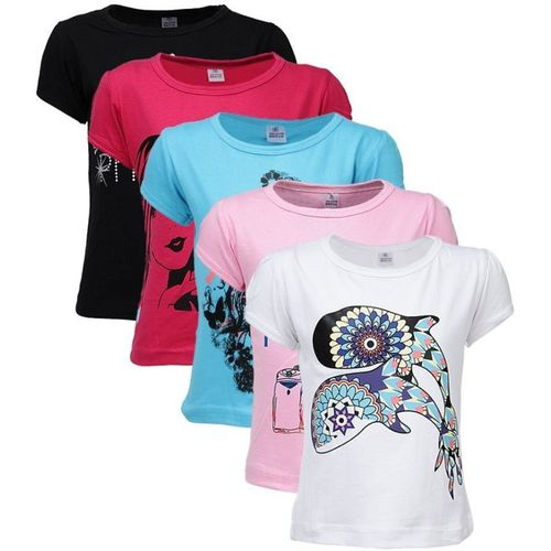 Gkidz Girls Casual Cotton Blend Top(Multicolor, Pack of 5)