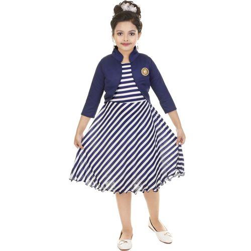 FTC FASHIONS Girls Mini/Short Festive/Wedding Dress(Blue, 3/4 Sleeve)