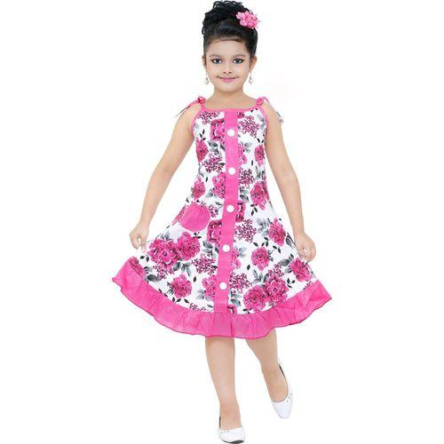SBN Girls Midi/Knee Length Party Dress(Pink, Sleeveless)