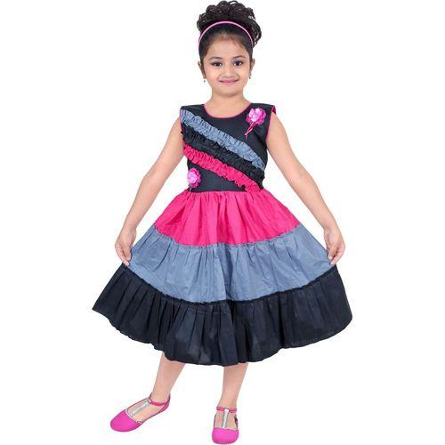 BAHUBALI Girls Midi/Knee Length Casual Dress(Multicolor, Sleeveless)