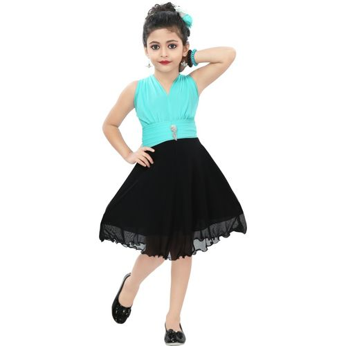 Chandrika Girls Midi/Knee Length Casual Dress(Pink, Sleeveless)