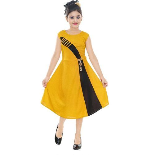 VASTRA FAB Girls Midi/Knee Length Party Dress(Yellow, Sleeveless)