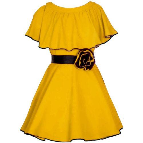 Fashion Dream Indi Girls Midi/Knee Length Casual Dress(Yellow, Fashion Sleeve)