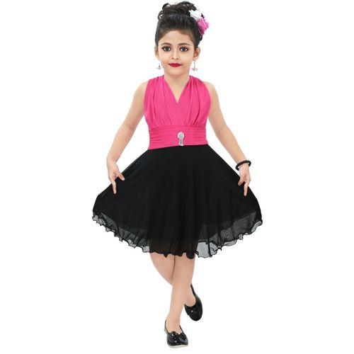 Chandrika Girls Midi/Knee Length Casual Dress(Pink, Sleeveless)