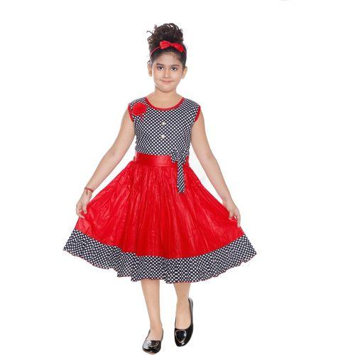 ANGEL WORLD Girls Midi/Knee Length Casual Dress(Multicolor, Sleeveless)