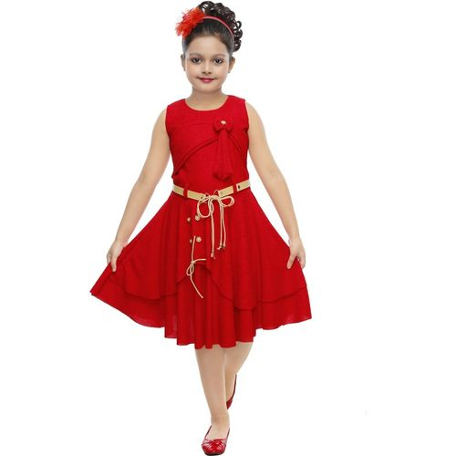 ULTRA TREND Girls Midi/Knee Length Party Dress(Red, Sleeveless)