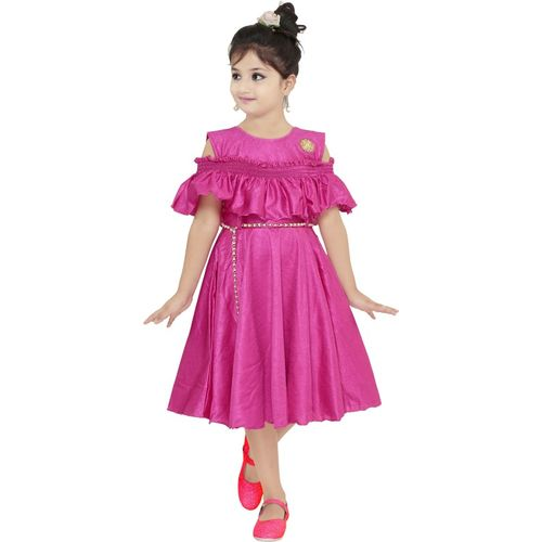 SKDC Girls Midi/Knee Length Party Dress(Pink, Fashion Sleeve)