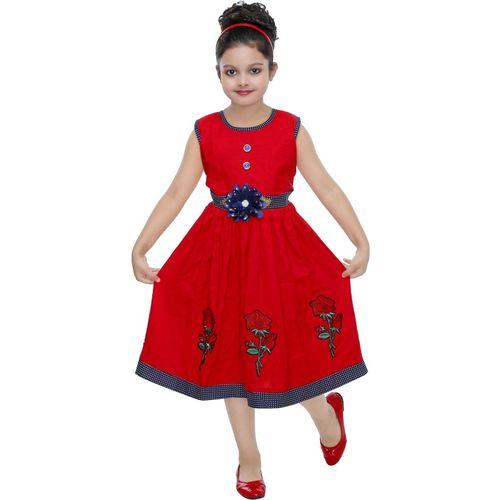 ULTRA TREND Girls Midi/Knee Length Casual Dress(Red, Sleeveless)