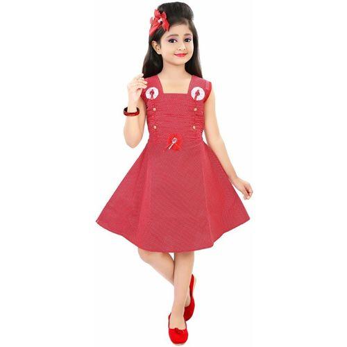 ADITI FAB Girls Midi/Knee Length Casual Dress(Red, Sleeveless)