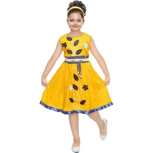 ULTRA TREND Girls Midi/Knee Length Casual Dress(Yellow, Sleeveless)