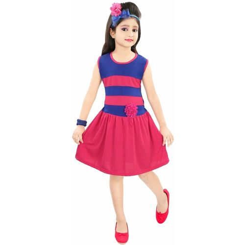 ADITI FAB Girls Midi/Knee Length Casual Dress(Pink, Sleeveless)
