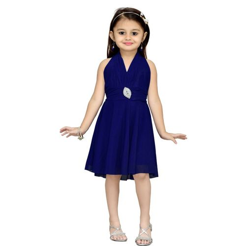 Aarika Girls Midi/Knee Length Party Dress(Dark Blue, Sleeveless)