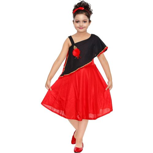 FTC FASHIONS Girls Below Knee Party Dress(Red, Short Sleeve)