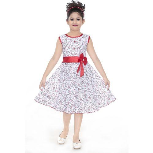 ZOOBA Girls Midi/Knee Length Party Dress(Red, Sleeveless)