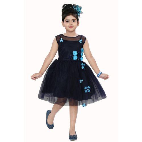 Chandrika Indi Girls Midi/Knee Length Casual Dress(Dark Blue, Sleeveless)