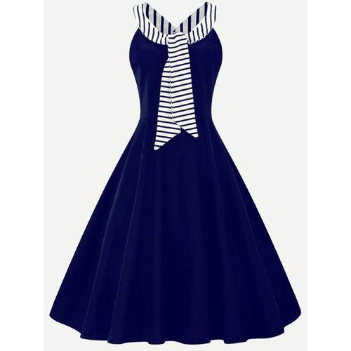 AD & AV Girls Mini/Short Casual Dress(Dark Blue, Sleeveless)