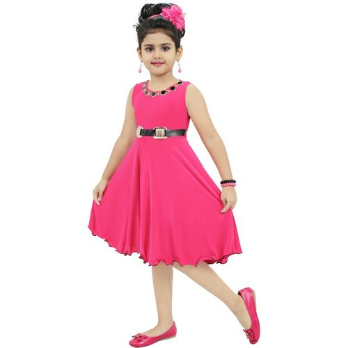CHANDRIKA Indi Girls Midi/Knee Length Casual Dress(Pink, Sleeveless)