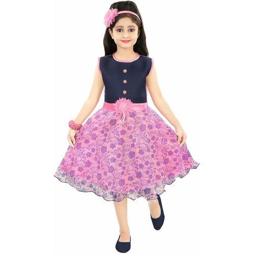 ADITI FAB Girls Midi/Knee Length Party Dress(Pink, Sleeveless)