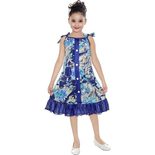 Mojua Girls Midi/Knee Length Casual Dress(Multicolor, Noodle strap)