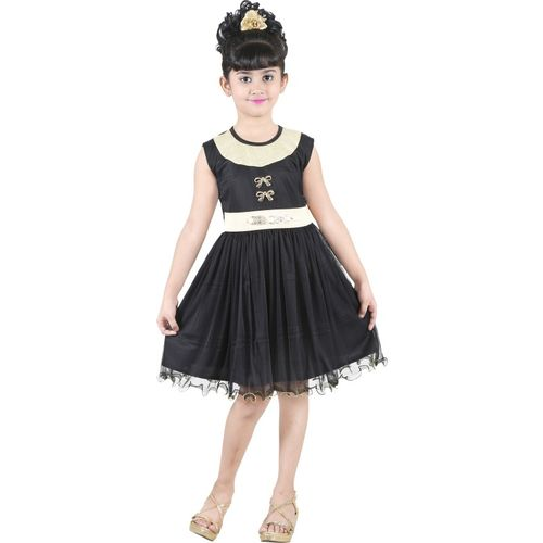 stylokids Girls Midi/Knee Length Party Dress(Black, Sleeveless)