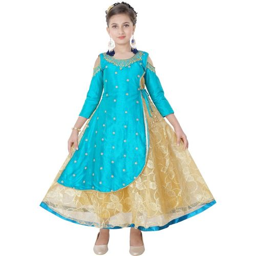 Saarah Girls Midi/Knee Length Festive/Wedding Dress(Blue, 3/4 Sleeve)