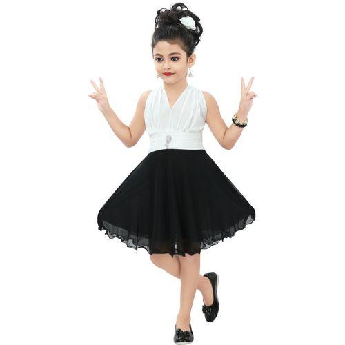 Chandrika White & Black Sleeveless Midi/Knee Length Casual Dress