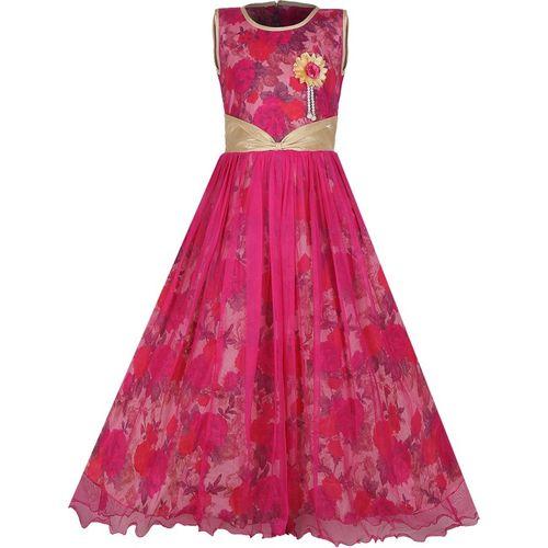 Tiny Toon Girls Maxi/Full Length Party Dress(Pink, Sleeveless)