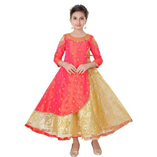 Saarah Girls Midi/Knee Length Festive/Wedding Dress(Pink, 3/4 Sleeve)