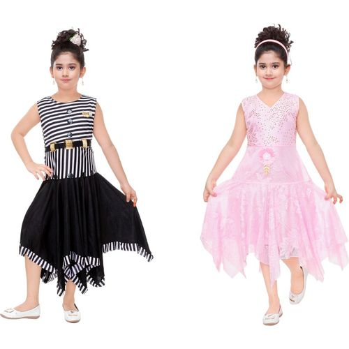 Mojua Girls Midi/Knee Length Party Dress(Multicolor, Sleeveless)