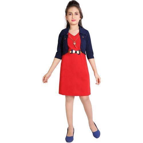 AD & AV Girls Mini/Short Casual Dress(Red, 3/4 Sleeve)