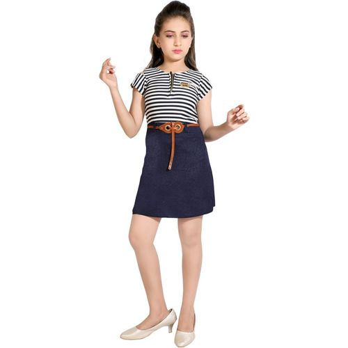 AD & AV Girls Mini/Short Casual Dress(Dark Blue, Cap Sleeve)