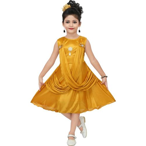 Chandrika Girls Midi/Knee Length Casual Dress(Yellow, Sleeveless)