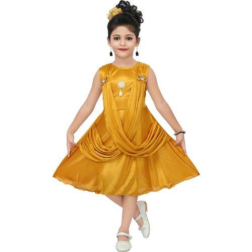 Chandrika Girls Midi/Knee Length Casual Dress(Yellow, Sleeveless)