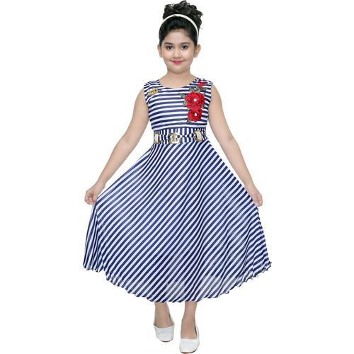 VASTRA FAB Girls Maxi/Full Length Party Dress(Blue, Sleeveless)