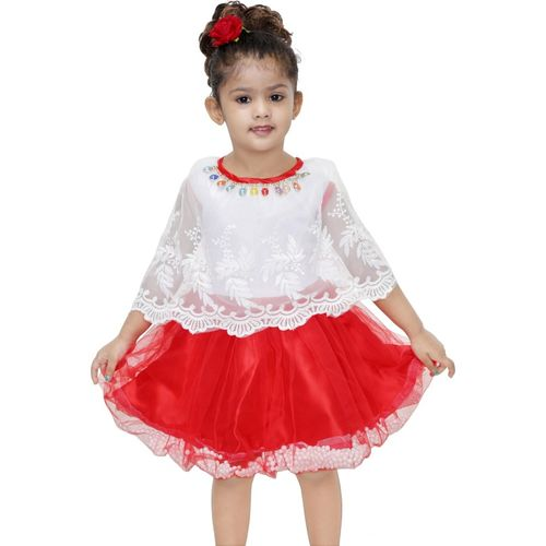 Mojua Girls Midi/Knee Length Party Dress(Multicolor, 3/4 Sleeve)
