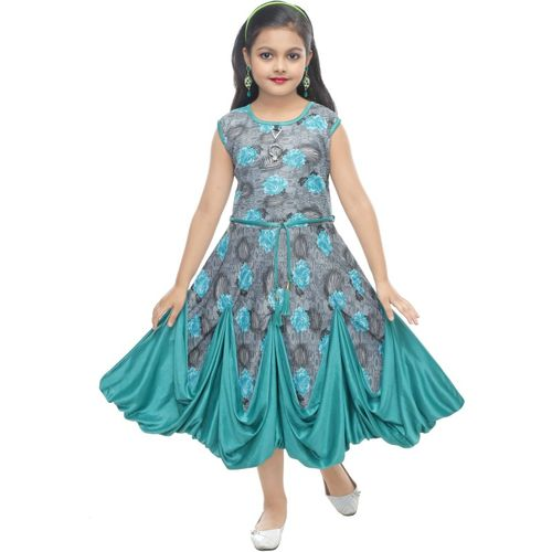 MRM CREATION Girls Midi/Knee Length Party Dress(Grey, Sleeveless)