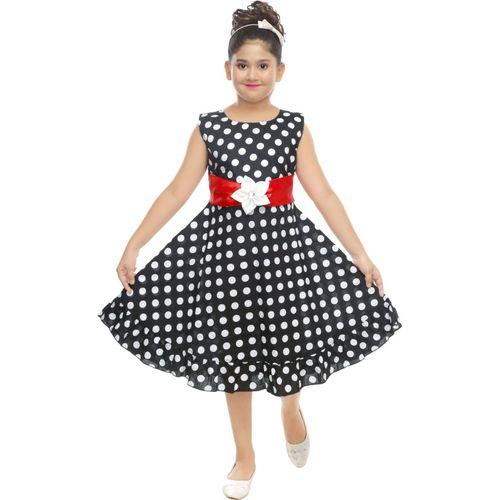 ZOOBA Girls Midi/Knee Length Party Dress(Black, Sleeveless)