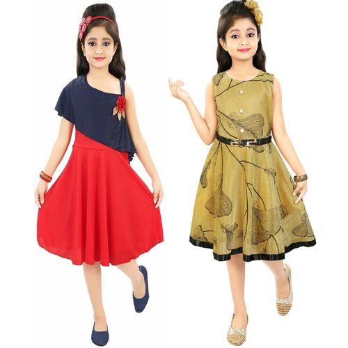 Gkidz Girls Midi/Knee Length Casual Dress(Red, Sleeveless)
