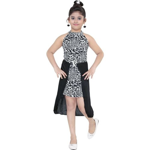 JUST TRENDY Girls Midi/Knee Length Party Dress(Multicolor, Sleeveless)