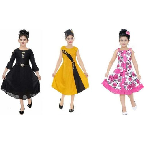 FTC FASHIONS Girls Midi/Knee Length Party Dress(Multicolor, Fashion Sleeve)