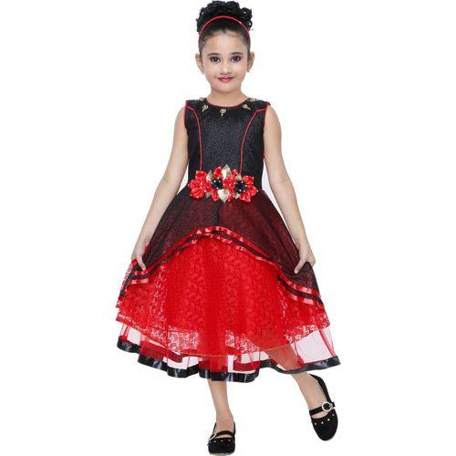 smartbazar Girls Midi/Knee Length Festive/Wedding Dress(Multicolor, Sleeveless)