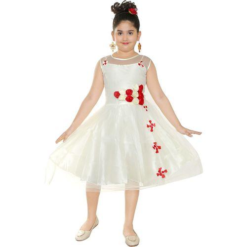 ZOOBA Girls Midi/Knee Length Party Dress(White, Sleeveless)