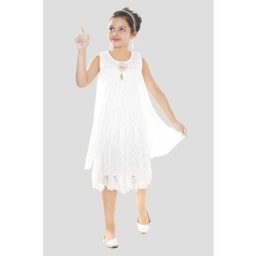 MRM CREATION Girls Midi/Knee Length Festive/Wedding Dress(White, Sleeveless)