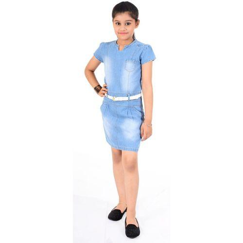 Naughty Ninos Girls Midi/Knee Length Party Dress(Blue, Half Sleeve)