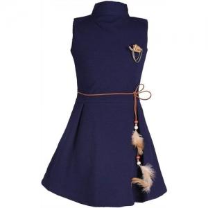 FabTag - Tiny Toon Girls Midi/Knee Length Casual Dress(Blue, Sleeveless)